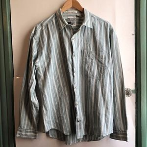 VINTAGE Blue Cream Striped Long Sleeve Button Down
